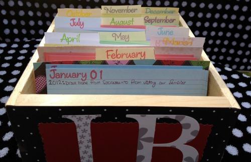 Family Journal Calendar Cards