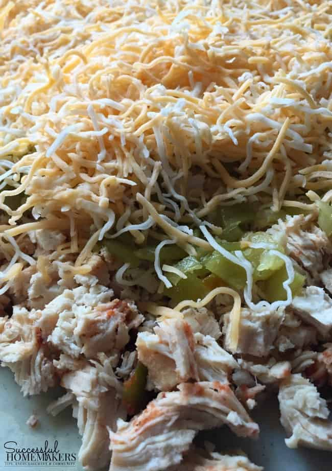 Instant Pot cooked chicken mixed with cheese and green chilies for enchiladas