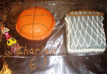 basketball and hoop cake