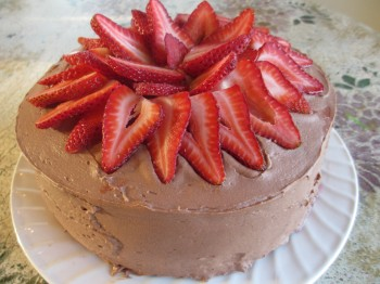 Homemade Strawberry Chocolate Cake
