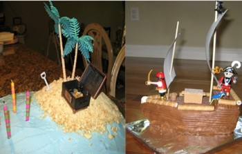 pirate ship cake and desert oasis