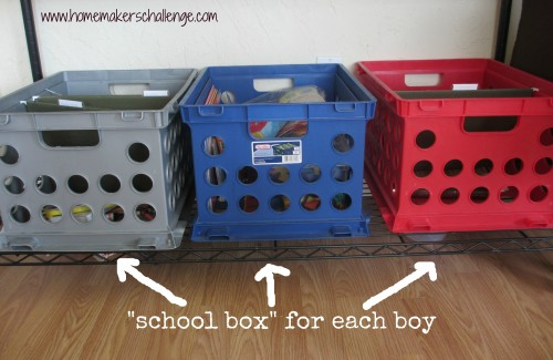 Organizing Home School Shelf