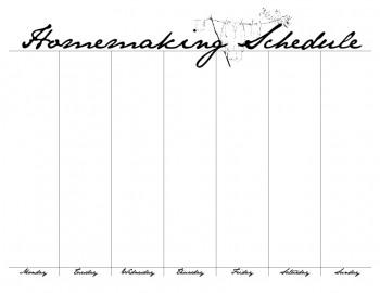 Homemaking Schedule