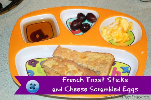 French Toast Stick and Cheese Scrambled Eggs