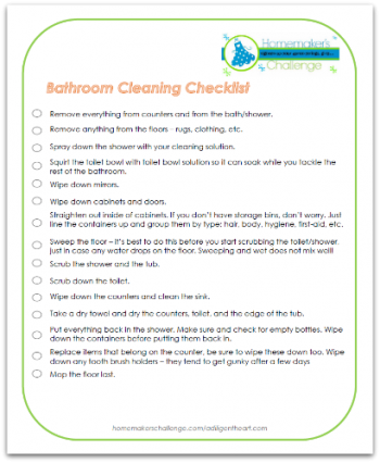 How to properly clean a bathroom with a free printable checklist from Homemaker's Challenge