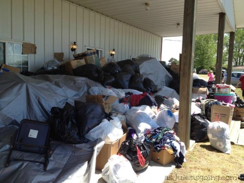 ruined donations aftering being floaded with clothing and no where to store them