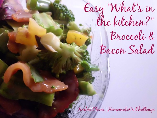Easy Broccoli Bacon Salad - an easy and yummy way to use veggies in your fridge; a tasty summer treat!