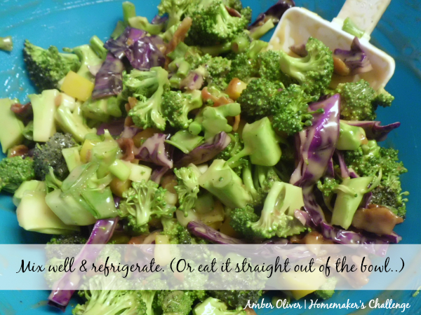 "Easy ""What's In the Kitchen?"" Broccoli Bacon Salad from Homemaker's Challenge"