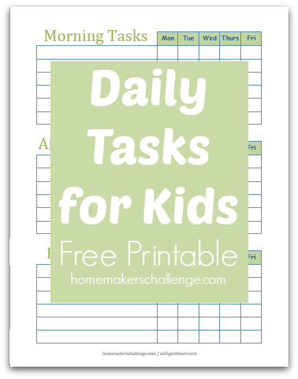 daily tasks for kids free printable
