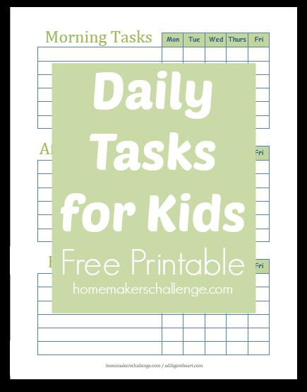 Daily Task List Printable -- Homemakers Challenge