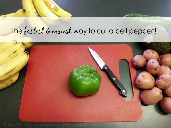 The fastest and easiest way to cut, de-stem, and un-core a bell pepper.