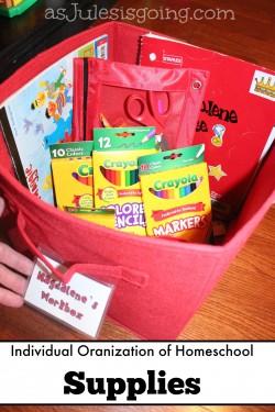 Individual Organization of Homeschool Supplies