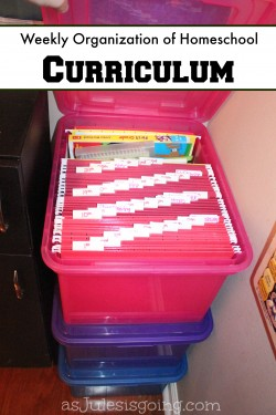 Weekly Organization of Homeschool Curriculum