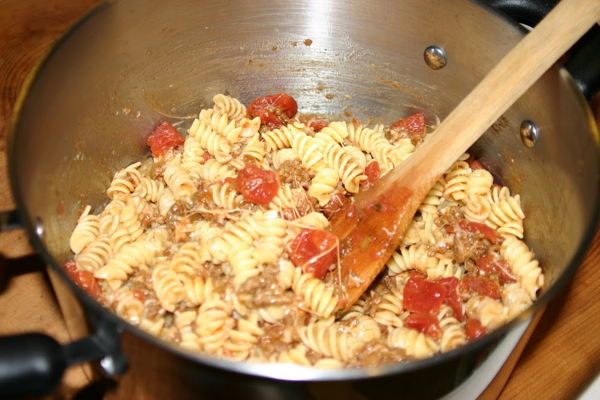 pasta and taco meat for casserole