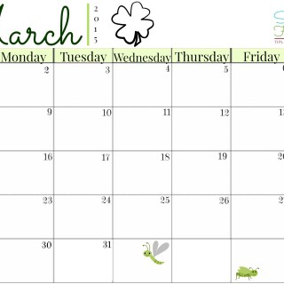 March planning calendar from Successful Homemakers