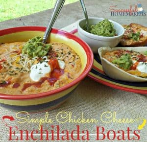 Simple Chicken Cheese Enchilada Boats
