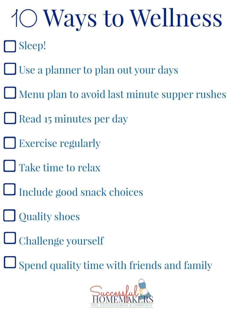 10 Ways to Wellness free printable from Successful Homemakers