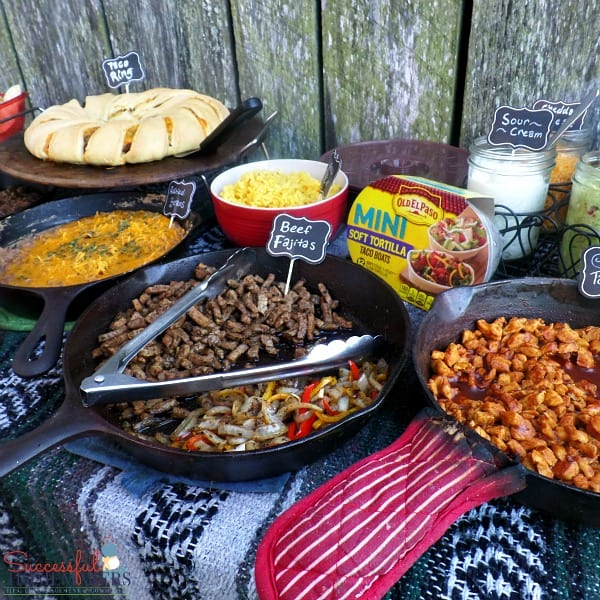 Chicken taco meat and more yummy foods on this Taco Bar Made Easy ~ Successful Homemakers