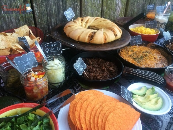 Taco ring, refried beans, beef taco meat make up this Taco Bar Made Easy ~ Successful Homemakers