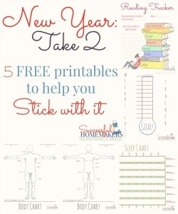 New Year: Take 2 Did you make resolutions and have not been super successful at keeping them? Me too. I hope these free printables help both of us! ~ Successful Homemakers #resolution #printables #weightloss #reading #sleep