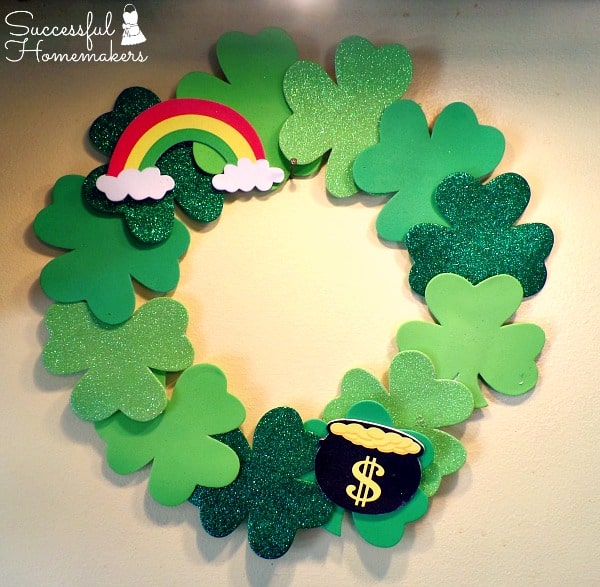 St Patrick's Day party fun! ~ Successful Homemakers simple decoration made from foam embellishments and foam core board!