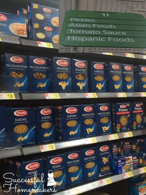 Barilla pasta at Wal Mart