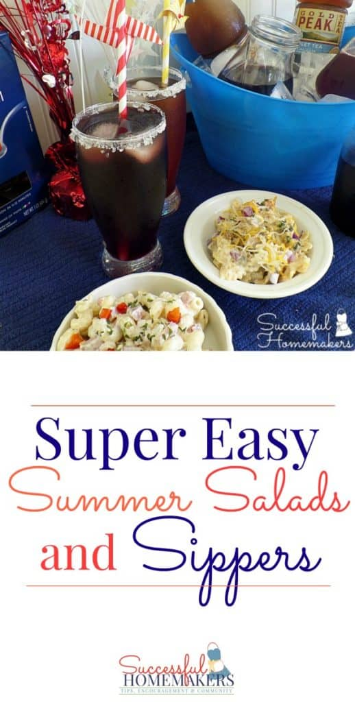 Super Easy Summer Salads and Sippers ~ Successful Homemakers Two pasta salad recipes and simple fruit syrups