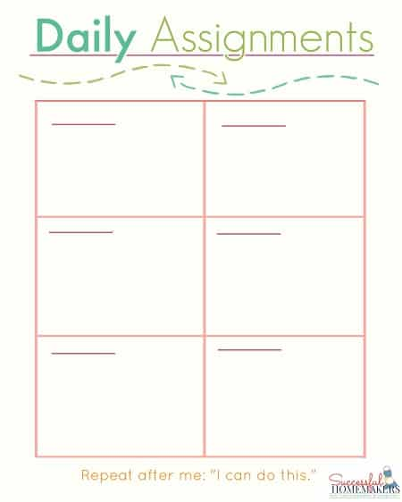 Daily Assignments printable ~ Successful Homemakers