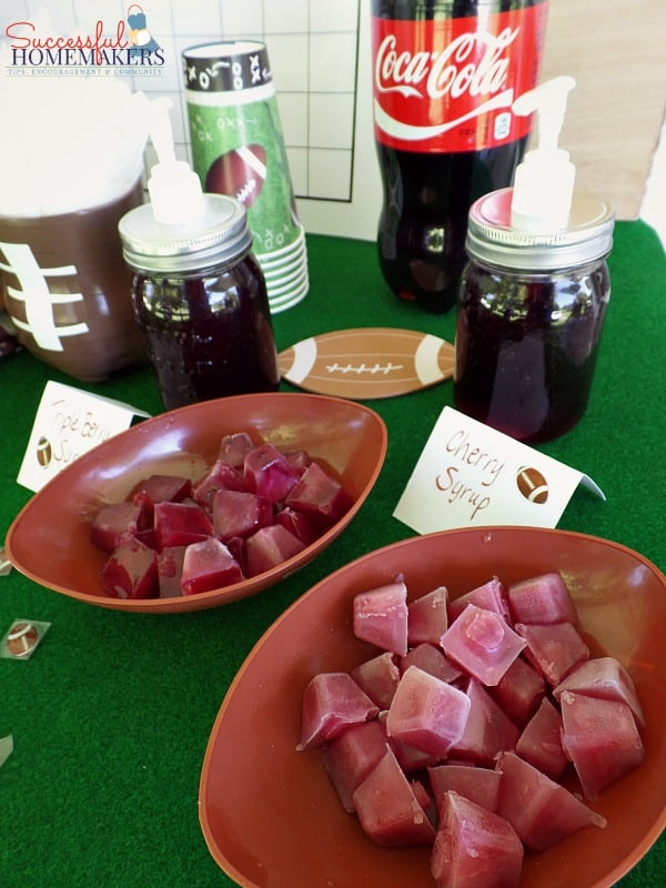 Five Easy Steps to a Killer Football Party! ~ Successful Homemakers Fruit syrups are simple to make and freeze!
