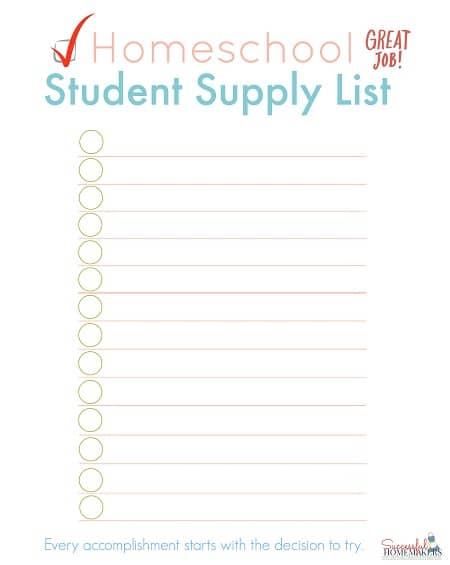 Homeschool Student Supply List ~ Successful Homemakers
