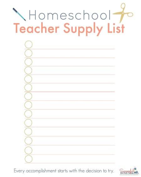 Homeschool Teacher Supply List ~ Successful Homemakers