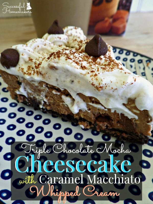Triple Chocolate Mocha Cheesecake with Caramel Macchiato Whipped Cream ~ Successful Homemakers