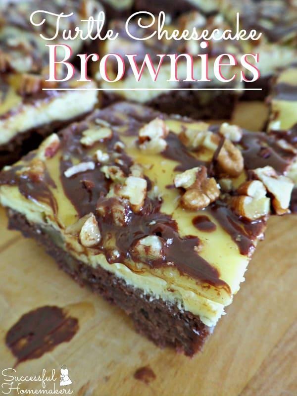 Turtle Cheesecake Brownies ~ Successful Homemakers