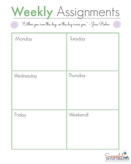 Weekly Assignments ~ Successful Homemakers