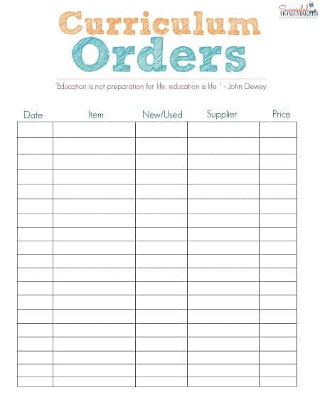 curriculum orders ~ Successful Homemakers