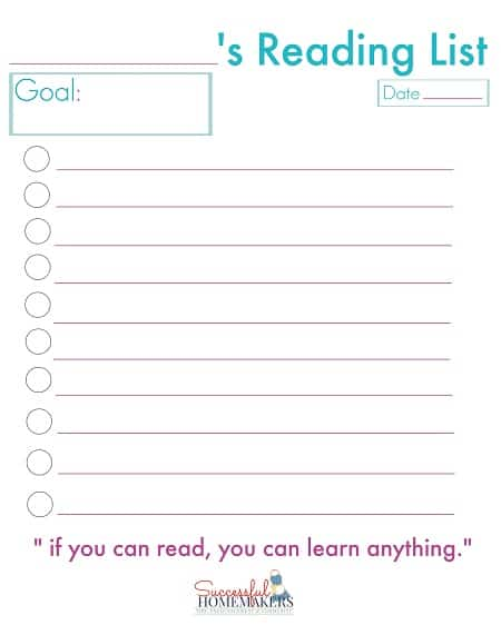 reading list printable ~ Successful Homemakers