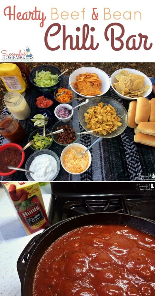 Make hosting your next get together a breeze with a Hearty Beef & Bean Chili Bar! ~ Successful Homemakers