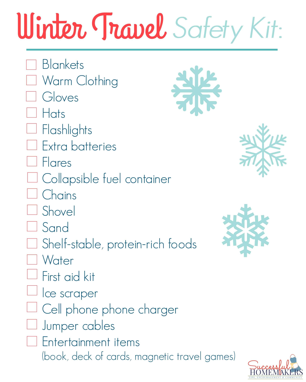 Winter Travel Safety Kit Checklist