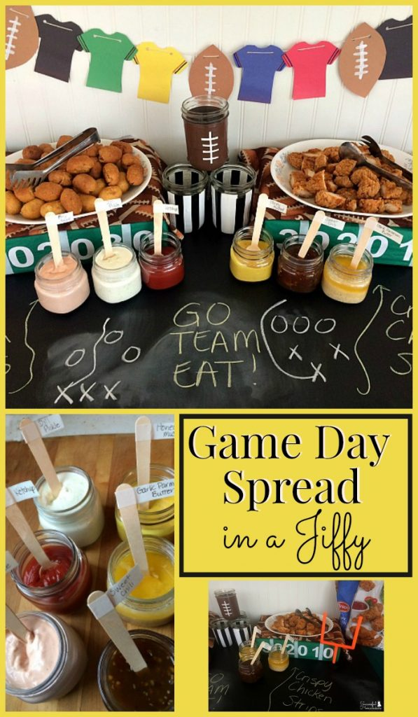 Game Day Spread In A Jiffy with Tyson! Game Day party prep doesn't have to be time-consuming. Here are some simple DIY decorations and dips to serve with store-bought chicken strips and mini corn dogs!