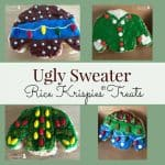 Ugly Sweater Rice Krispies Treats Make these for your next party. Super simple to make and a whole lot of fun!