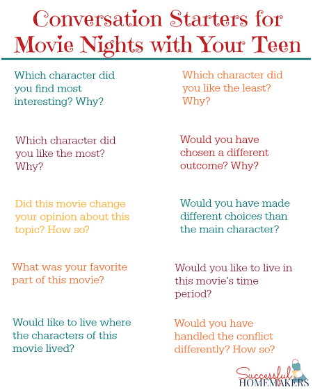 Use these conversation starters to connect with your teen with an easy movie night! From Successful Homemakers