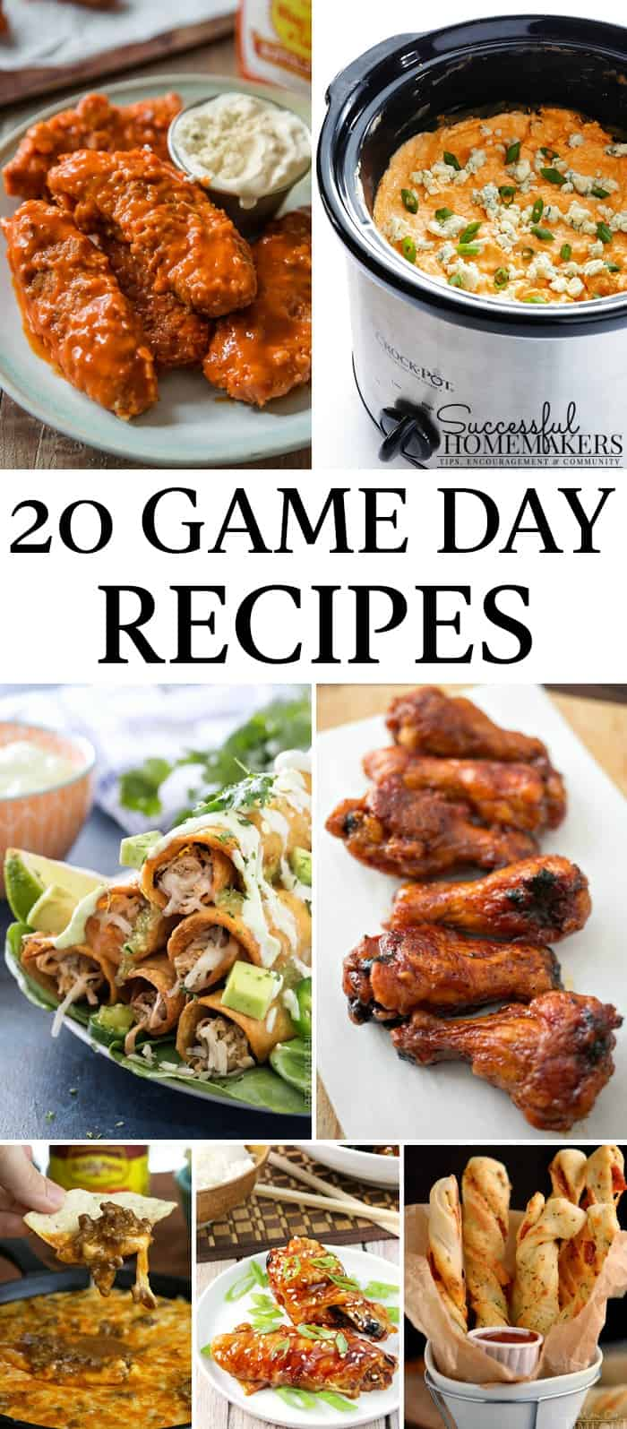 game day recipe round up with 20 recipes for you to make!