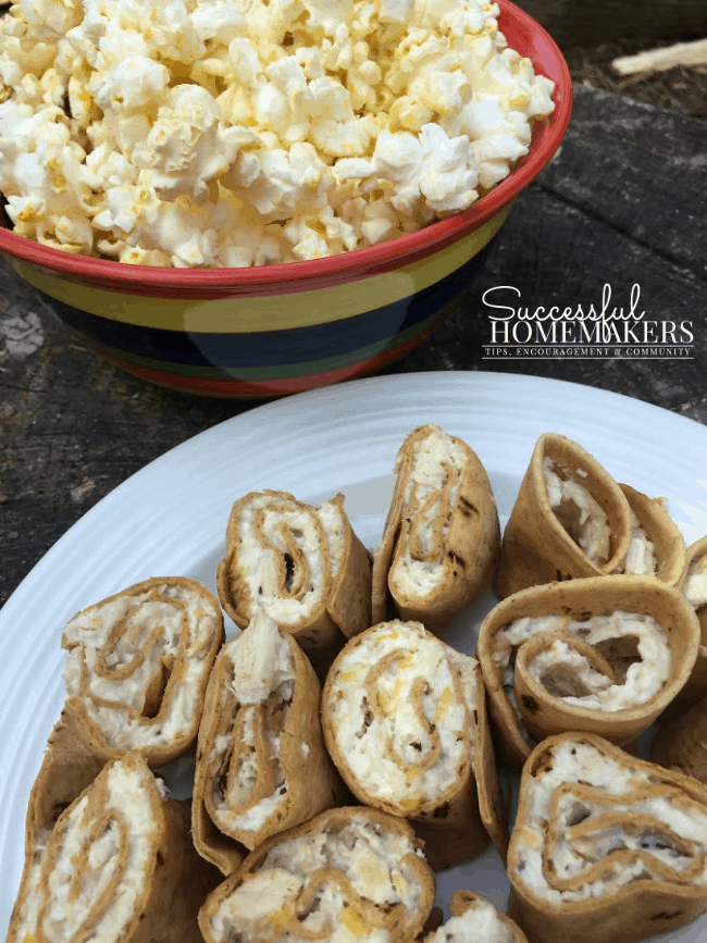3 Quick Snacks Popcorn and Chicken Salad Rollups