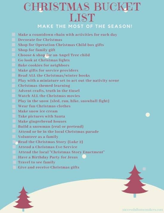 Christmas Bucket List  Print this list and make the most of the holiday season