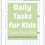 Daily task printable for kids