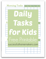 Daily Tasks for Kids – Free Printable