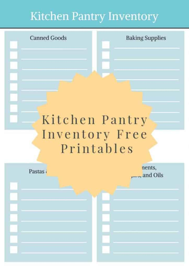 Kitchen Pantry Inventory  free printable pack